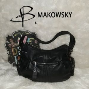 B.Makowsky Black Leather Purse